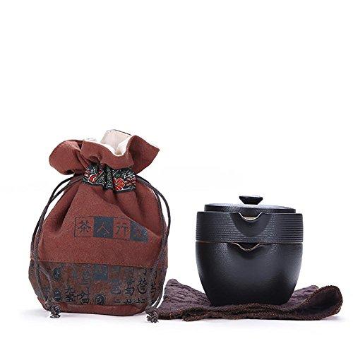 Ensemble de thé portatif de Kungfu de voyage, style chinois / japonais, théière en Poterie noire faite main simple de mode et 4 tasses à thé