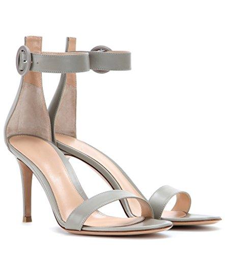 EDEFS Femme Chaussures Bout Ouvert Stiletto 8cm Talon Sandales à Bride de Cheville Gris