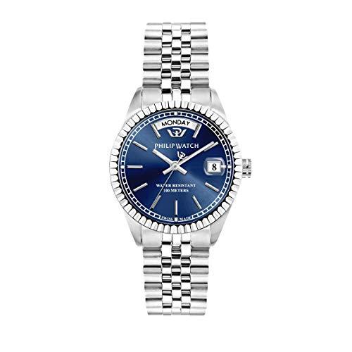Philip Watch Orologio da donna, Collezione Caribe, con movimento al quarzo e funzione tempo, giorno e data, in acciaio - R8253597542