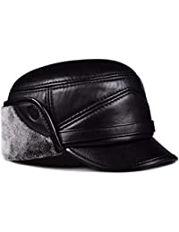 603feafcb15 QIER-MZ Men s autumn and winter middle-aged leather cap warm hat flat cap