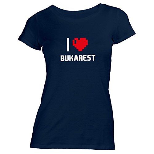 Damen T-Shirt - I Love Bukarest - Rumänien Romania Reisen Herz Heart Pixel Navy