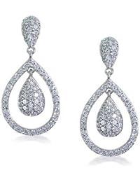 Bling Jewelry Mariage Royal inspiré CZ Teardrop Boucles d'plaquée Rhodium
