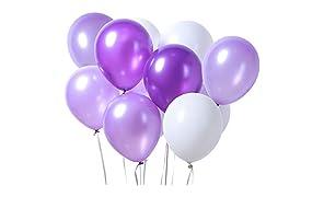 PuTwo Lilas Violet Clair Blanc Ballon 100pcs 12 Pouces Ballon Helium Violet Foncé Ballons Lavande Ballon Baudruche Blanc Ballon Gonflable pour la Décoration Bapteme Fille la Décoration d'Anniversaire