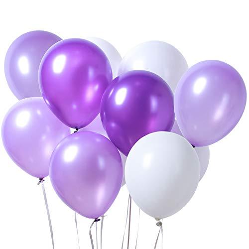 PuTwo Látex Globos de Cumpleaños 100 Piezas Globos de Helio Lila Globos Boda Niña Niño Globos Perlados Pastel para Cumpleaños Decoración Fiesta Bautizo Aniversario Baby Shower -Lila /Púrpura y Blanco