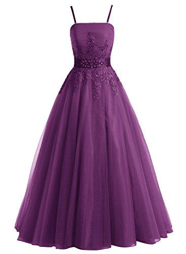 Bbonlinedress Robe de soirée et de gala florale emperlée bretelle spaghetti longueur ras du sol en tulle Raisin