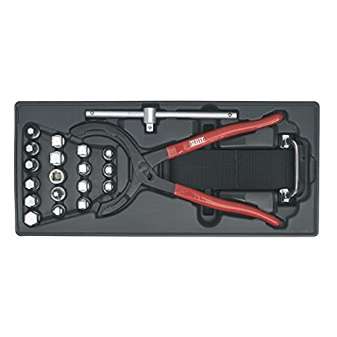 Sealey TBT28 Tool Tray with Oil Filter Wrench/ Pliers and Drain Plug Set (21 Pieces) - Kit Pinza Chiave