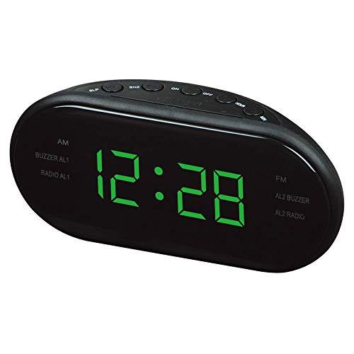 ecker mit AM- und FM-Zweikanal-Multigruppen Wecker Geschenk Radiobeleuchtung Uhr-Green ()