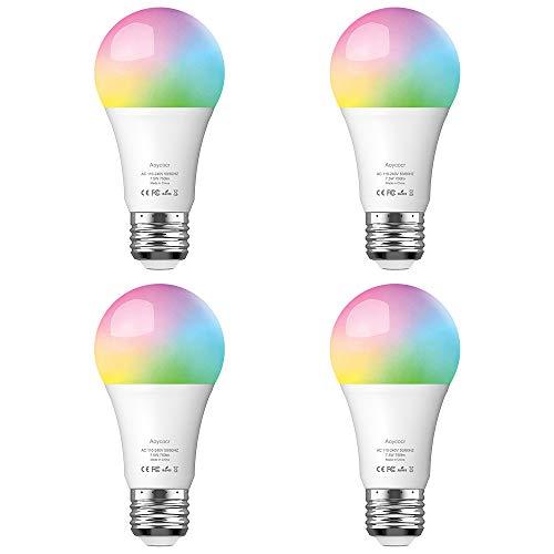Smart WLAN LED Lampe E27 Wifi Glühbirne, Aoycocr Alexa Glühbirnen Mehrfarbige Dimmbare Lampe, 750 Lumen, 6500 Kelvin, Wifi Bulb Kompatibel mit Alexa Google Home IFTTT, 7.5W, APP Fernbedienung 4pack