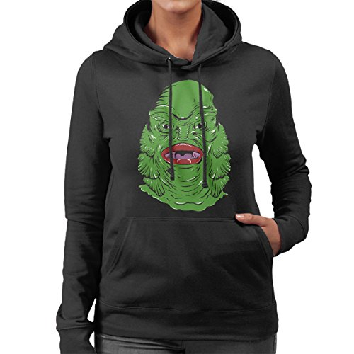 Creature From The Black Lagoon Face Women's Hooded Sweatshirt Black