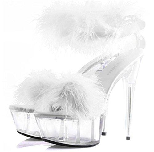 LNGXE Frauen Kristall PlüSch Hohle Schuhe Gericht Schuhe Sexy Funnypumps Open-Toe Fersen Federn High-Heel Sandalen, 39