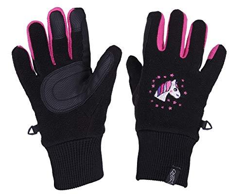 QHP Fleece-Reithandschuhe Fresco Handschuhe Druckmotiv Touchscreennutzung (Junior 1, Schwarz)
