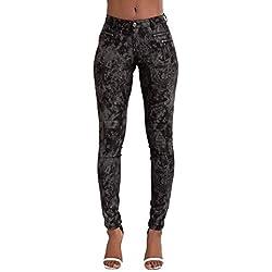 Crazy Lover Mujer Sexy Leggins Cuero con Bolsillo Skinny Elástico Pantalón (36, Estampado negroo)