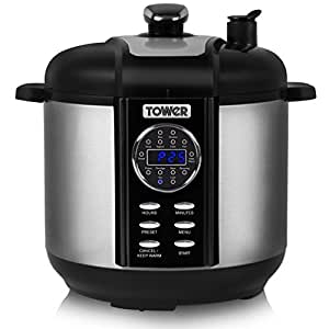 Tower Pro T16008 One Pot Express 14-in-1 Electric Pressure Cooker with Smoker, 6 Litre, 1000 Watt - Stainless Steel