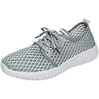 TUDUZ Zapatos Deporte Zapatillas Ligeras Color Sólido Mujer Zapatos Suave Transpirable con Cordones De Fondo
