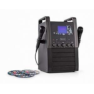 auna KA8B-V2 BK Karaoke Anlage für Kinder (CD-Player, 3 x Karaoke-CD, 9 cm TFT-Farbdisplay, TV-Out, 2 x Mikrofon) schwarz