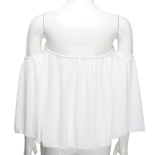 Longra Donna T-shirt in chiffon senza maniche chiffon a maniche lunghe in barca Bianca
