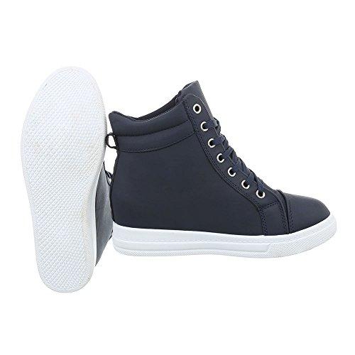 Sneakers Ital-design Alte Scarpe Da Donna Sneakers Alte Zeppa / Zeppa Zeppa Scarpe Con Cerniera Tacco Blu Scuro N-9-1