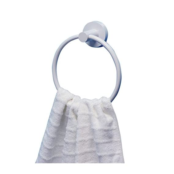 Bathla Suction Towel Ring (White) - with Twist Lock Technology for Instant Installation