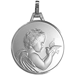 1000 médailles de baptême Médaille Ange à l'oiseau (Argent)