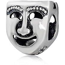 soulbead Comedia Tragedia Teatro Máscara Encanto auténtica plata de ley 925 Bead para Europea Pulsera Joyería