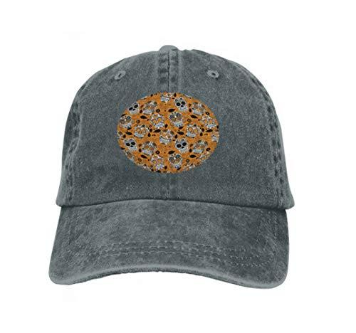 Adjustable Cotton Hat Fashion Cotton Denim Baseball Cap Day Dead Sugar Skull Seamless Background Dia de los Muertos Carbon (Sugar Skull Kostüm Männer)