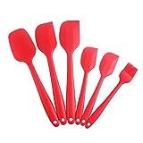 6-teiliges Silikon Mixer Teigschaber Backpinsel Set - Silikonschaber Küchengeräte Kleine Schmal Teigspachtel Backzubehör Küchenhelfer Set Topfset Kochbesteck - mit stabilem Edelstahlkern zum Kuchen Backen und Mixen in Rot