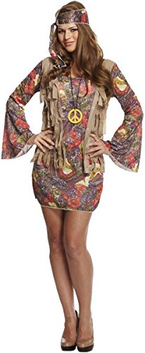 Damen Hippie Hippie-starkes Kostüm 1970er 1960er Outfit 70s 60s Krawatte