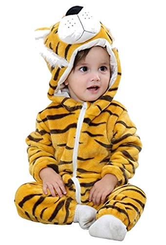 PICCOLI MONELLI Pigiama pigiamone Tigre tigrotto Bambino Senza Piedini in Pile Adatto Anche Come Costume o tutone Caldo di Carnevale tg 100 cm