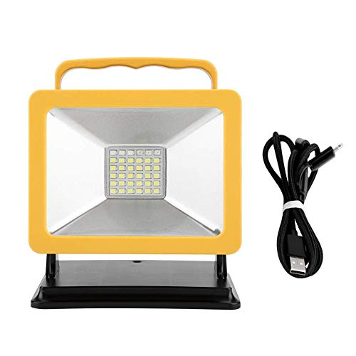 E-CHENG Portable Work Floodlight, Led Work Light with Magnetic Stand Rechargeable Flood Light Outdoors Camping Emergency Light (30W 5200mah Yellow Frame) (30w 5200mah Yellow Frame) -