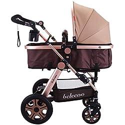 FlowerW 3 in 1 Kinderwagen Falten Anti-Schock Kinderwagen Feuerzeug Zertifizierung ECE Multi Funktionen Kombinierter Kinderwagen