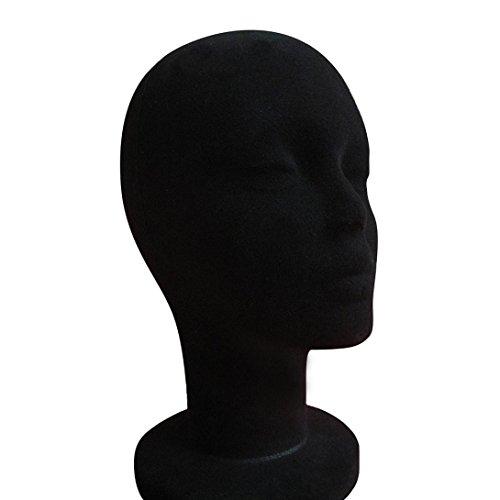 (Dummy Modell Köpfe, Transer® Weiblich Styropor Schaumstoff beflockt Head Modell Perücke Gläser Display Ständer Schwarz Modell Display Dummy Köpfe)