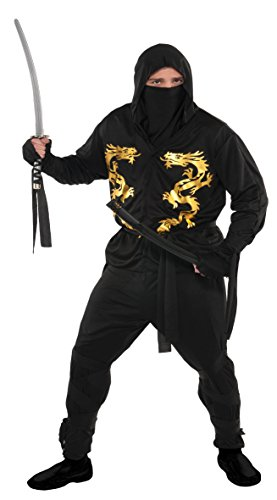 Confettery - Herren Kostüm Set- Dragon Ninja, Schwarz, Größe XL