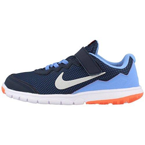 Nike Flex Experience 4 (Psv), Chaussures de Sport Fille, 16 EU Noir / Plateado / Amarillo / Blanco (Obsdn / Mtllc Slvr-Brght Mng-Wht)