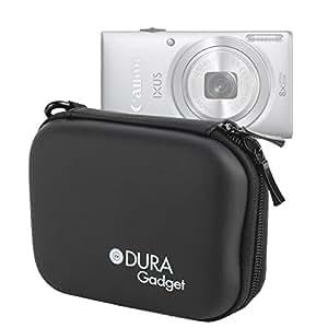 Etui housse rigide noir pour Canon IXUS 170, 165, 160 et 275 HS appareils photo numériques compacts - mousqueton amovible, par DURAGADGET