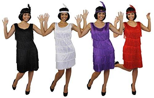 Kostüm Billig 20er Jahre - ILOVEFANCYDRESS Damen Deluxe Flapper KOSTÜM 1920 FRANSEN Kleid IN SCHWARZ MIT PASSENDEN Feder Pailletten Kopfschmuck 20ER Jahre Charleston (Large)