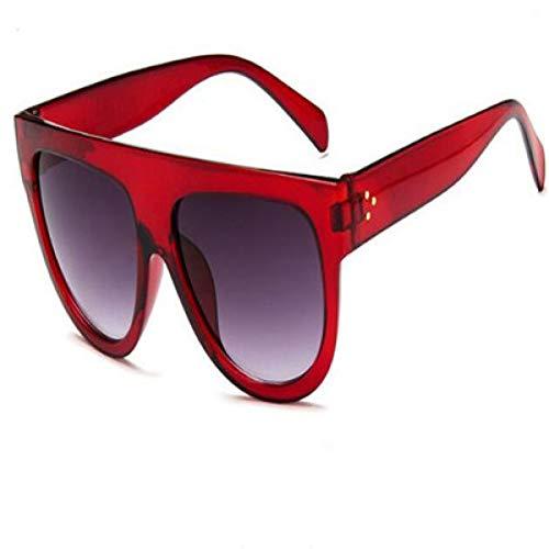 HYUHYU Mode Sonnenbrillen Frauen Flache Top Style Brand Design Vintage Sonnenbrille Weibliche Niet Shades Großen Rahmen Shades Uv400