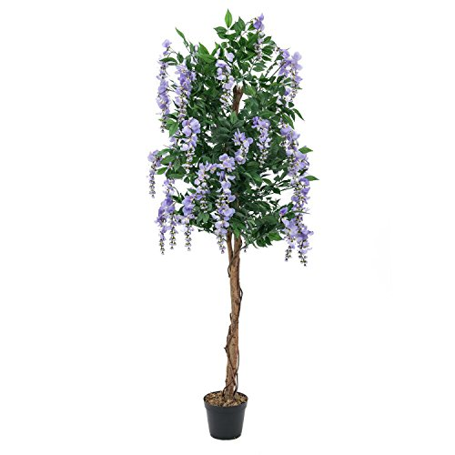 artplants – Künstlicher Goldregenbaum, 2020 Blätter, Echtstamm, 1000 Blüten, lila, 180 cm – Kunststoff Blütenbaum/Deko Blumen Baum
