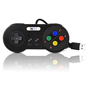 iNNEXT 2 x Retro Classic USB Controller SNES Gamepad Super Nintendo Controller for PC Game Mac Raspberry Pi Controller Pads( Multi-color Keys)