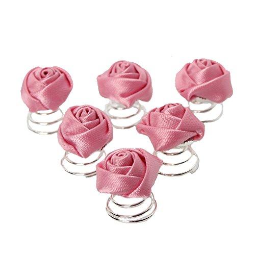 JUSTFOX - 6 Curlies Braut Kommunion Hochzeit Haarschmuck Rose in rosa