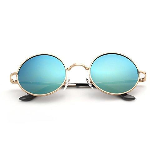 Menton Ezil John Lennon Small Round Sunglasses Retro Vintage Style Hippy Glasses For Men and Women with Circle Polarized Lens Metal Frame Spring Hinge Lifetime Breakage Guarantee