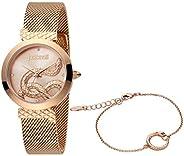 Just Cavalli Women's Rose Gold Dial Stainless Steel Analog Watch Bracelet Set - JC1L091M