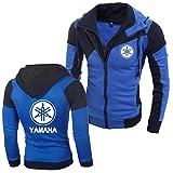 Veste De Moto Tout-Terrain à La Mode pour Hommes sur La Côte Ouest pour Yamaha Personnalité Couleur Double Zip Capuche Cardigan (Bleu,M)