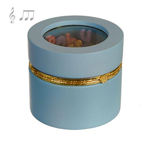 Raddi Argenterie Boite cylindrique en Bois Rose avec Monture en Metal doré, Jeux à l'interieur et Carillon cm11x14