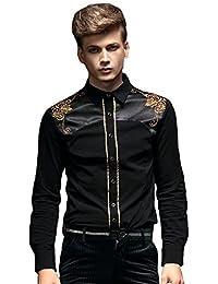 db3f491875f54 FANZHUAN Camisa De Vestir Hombre Slim Fit Negra Elegantes Non Iron