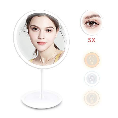 Ranikeer Kosmetikspiegel mit Led Licht, Wiederaufladbarer Schminkspiegel 3 Modi mit 5X-Vergrößerungsspiegel, Schwenkbar Make Up Spiegel für Schminken, Rasieren, Touchschalter für Dimmbare Heilligkeit