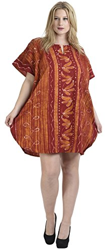 La Leela Frauen Kaftan Strand Tunika lange Strandmode Bikini-Vertuschung Bluse Kimono kurz bis 14 Farben Maxi-Kleid zu wählen Aloha Orange