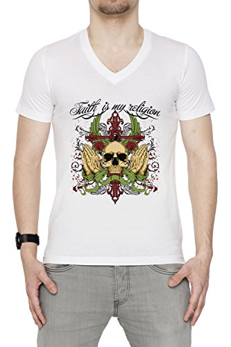 Faith Is My Religion Uomo V-Collo T-shirt Bianco Cotone Maniche Corte White Men's V-neck T-shirt