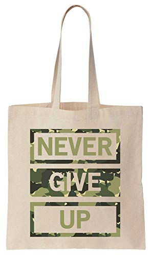 Finest Prints Never Give Up Saying In Camouflage Cotton Canvas Tote Bag -