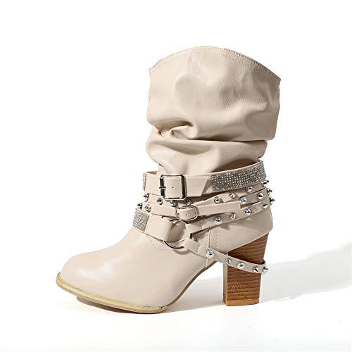 Stiefeletten Damen mit Absatz, Leder High Heels Stiefel Warm Gefüttert Blockabsatz Winterschuhe Mode Elegante Kurzschaft Boots 8Cm Schwarz Grau Braun Gr.35-43 BG37