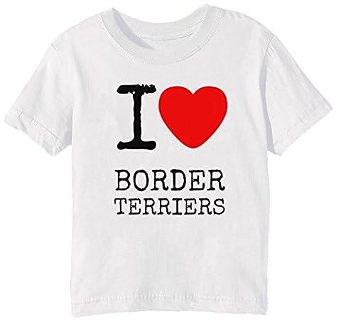 I Love Border Terriers Dogs Enfants Unisexe Garçon Filles T-shirt Cou D'équipage Blanc Manches Courtes Taille S Kids Unisex Boys Girls White Small Size S